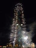 nytt år 2011 för burjberömdubai khalifa Fotografering för Bildbyråer