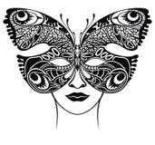 nytt ?r f?r lycklig maskeringsmaskerad Venetian spets- mall för fjärilsfiligranmaskering ocks? vektor f?r coreldrawillustration royaltyfria bilder