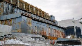 Nytt säkert skydd Exklusiv längd i fot räknat från taket av den Tjernobyl kraftverket Royaltyfri Bild