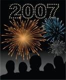 nytt s år för 2007 helgdagsaftonfyrverkerier Arkivbilder