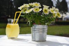 Nytt sammanpressad lemonad på en tabell, bredvid en blomkruka Arkivbilder