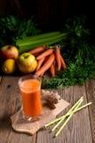 Nytt sammanpressad morotfruktsaft Royaltyfria Bilder