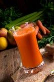 Nytt sammanpressad morotfruktsaft Royaltyfri Foto