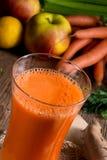 Nytt sammanpressad morotfruktsaft Royaltyfri Bild