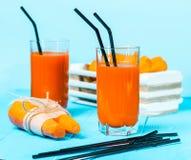 Nytt sammanpressad morotfruktsaft i exponeringsglasen Royaltyfria Bilder