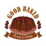 Nytt smakligt efterrättemblem Symbol för chokladkaka Arkivfoto