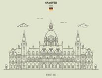 Nytt stadshus i Hannover, Tyskland Gränsmärkesymbol fotografering för bildbyråer