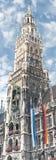 Nytt stadshus på Marienplatz i Munich, Tyskland Arkivfoto