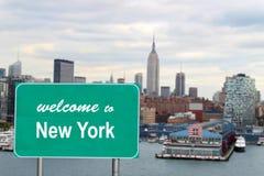 nytt tecken att välkomna york Royaltyfri Bild