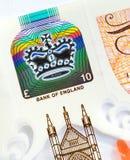 Nytt UK tio pund anmärkningsdetalj Arkivbild