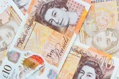 Nytt UK tio pundanmärkningar Fotografering för Bildbyråer