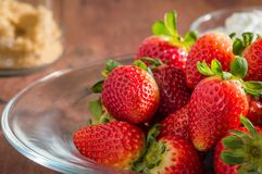 Nytt valde organisk jordgubbar och kräm, rum för text arkivfoton