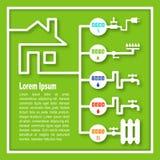 Nytto- meter: elektricitet gas, kallt vatten, varmvatten som värmer vektor illustrationer