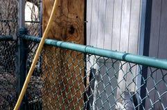 Nytto- Pole, staket och utrustning i en trädgård royaltyfria bilder