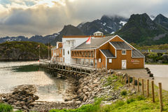 Nyvagar Rorbuhotell in Kabelvag located at the Lofoten Sea Stock Images