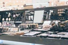 NYX decorative professional cosmetics on display. CHERKASY, UKRAINE – 14 October, 2018: NYX decorative professional cosmetics on display at NYX shop. NYX royalty free stock photography