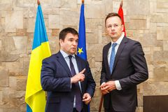 Meeting of Foreign Ministers of Ukraine and Hungary. Nyzhne Solotvyno, Ukraine - June 22, 2018: The Ministers of Foreign Affairs of Ukraine Pavlo Klimkin L and stock photos