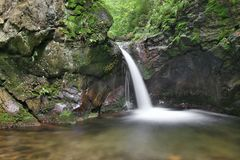 Waterfall on the Silver Brook, Czech Republic Royalty Free Stock Photo