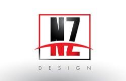 NZ N Z Logo Letters avec des couleurs et le bruissement rouges et noirs Photos libres de droits