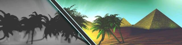 Oásis do deserto do panorama com título das palmeiras e das pirâmides com uma listra preta ilustração stock
