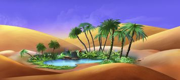 Oásis em um deserto ilustração royalty free