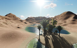 Oásis no deserto Foto de Stock