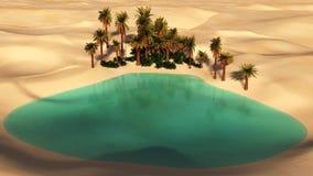 Oásis no deserto arenoso ilustração do vetor