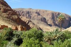 Oásis River Valley no deserto seco no Norte de África imagens de stock