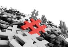 Oändlig röd hashtag på en plan tolkning för original 3d Royaltyfri Foto