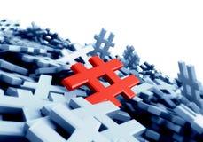 Oändlig röd hashtag på en plan tolkningbild för original 3d Royaltyfri Bild