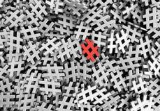 Oändlig röd hashtag på en plan tolkningillustrati för original 3d vektor illustrationer