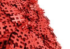 Oändlig röd hashtag på en plan tolkningillustration för original 3d Royaltyfri Bild