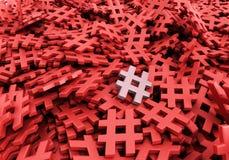 Oändliga hashtags på en plan tolkning för original 3d avbildar Royaltyfri Foto