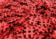 Oändliga hashtags på en plan tolkningillustration för original 3d Arkivfoto
