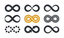 Oändlighetssymboler Upprepning och obegränsad cyclicity i olik stil som isoleras på vit bakgrund royaltyfri illustrationer