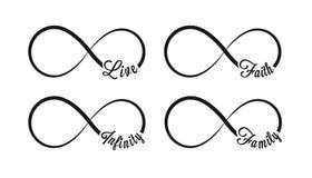 Oändlighetssymboler Upprepning och obegränsad cyclicitysymbol och teckenillustration på vit bakgrund Levande tro, familj stock illustrationer