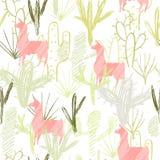 Ołówka kaktusa stylowy set i menchii lamy tło Element bezszwowy wzór również zwrócić corel ilustracji wektora ilustracji