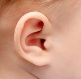 Oído del bebé Foto de archivo libre de regalías