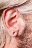 Oído estirado del hombre después de la perforación del túnel foto de archivo
