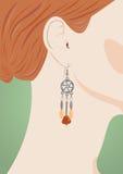 Oído femenino con el joyero Fotografía de archivo
