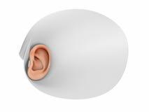 Oído humano y el escuchar avanzado Imagenes de archivo