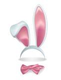 Oídos de conejo rosados aislados vector con la corbata de lazo ilustración del vector