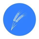 Oídos del icono de las pastas del trigo en estilo negro aislado en el fondo blanco Tipos de ejemplo del vector de la acción del s Fotos de archivo libres de regalías