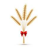 Oídos del trigo con el arqueamiento rojo stock de ilustración