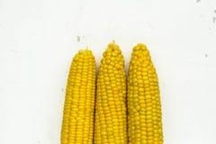 Oídos dulces amarillos del maíz en el fondo blanco Imágenes de archivo libres de regalías