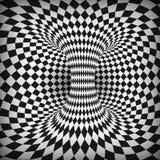 Обман зрения геометрического квадрата черно-белый Абстрактный тоннель червоточини Передерните космоса и времени также вектор иллю иллюстрация вектора