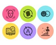 Обнаружение стороны, как набор видео и значков информации о пользователе Id подобия, стороны и знаки Stats Обнаружьте человека, б иллюстрация штока