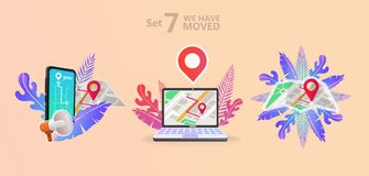We have moved vector illustration concept. We have moved new office icon location. Change location announcement business home map. Use for, landing page vector illustration