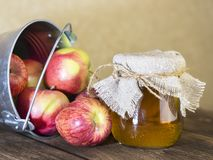 Обработка аграрного урожая красных и зеленых яблок Домашний консервировать, еда здорового питания вегетарианская Уксус яблочного  стоковое фото rf