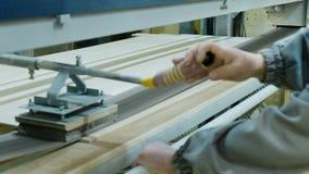 Обработка листов переклейки на шлифовальном станке пояса Изготовление деревянной мебели сток-видео